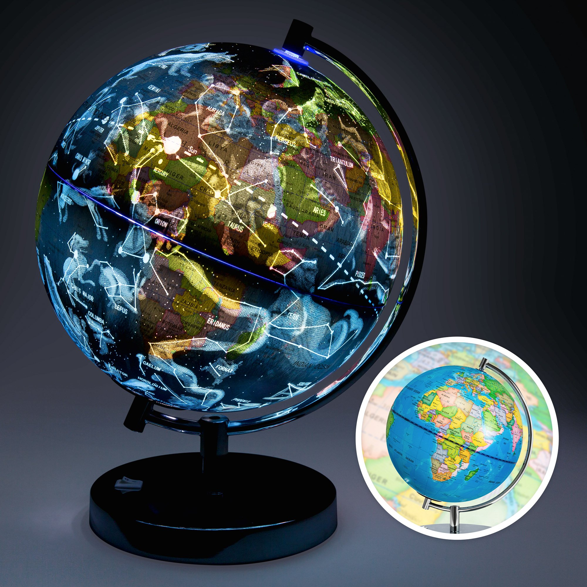 Best Choice Products 2-in-1 Kids Educational Day and Night World Globe w/ Light up Star Constellation Map, Steel Stand