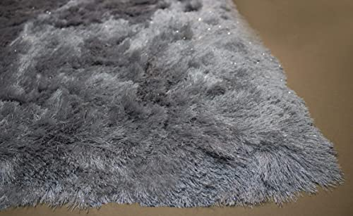 5×7 Feet Light Gray Light Grey Silver Color Shimmer Area Rug Carpet Rug Solid Soft Plush Pile Shag Shaggy Fuzzy Furry Modern Contemporary Decorative Shiny Glitter Bedroom Living Room Hand Woven