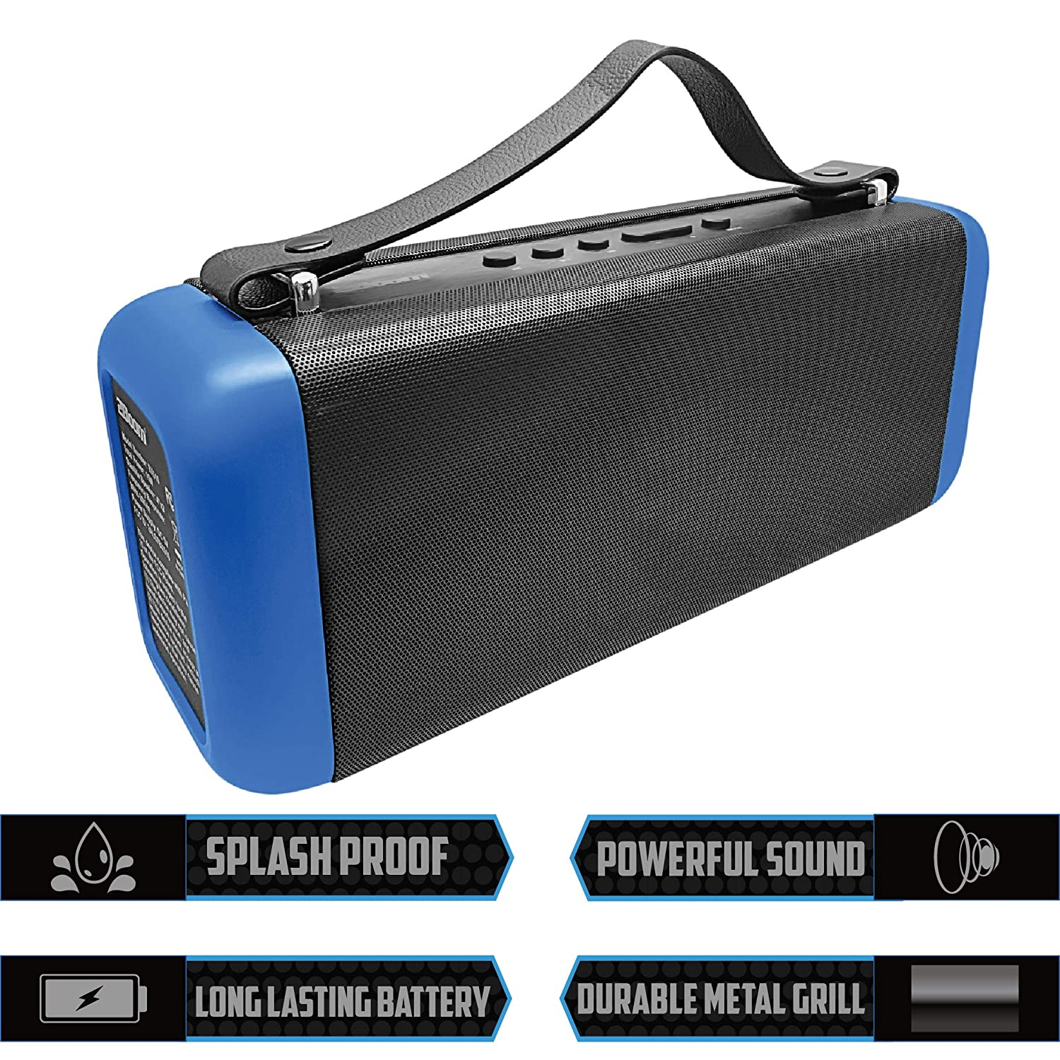2BOOM Portable Bluetooth Speakers, Wireless Boombox Stereo, Portable  Indoor/Outdoor, FM Radio, 3-inch Dual Sub-Woofers, Rechargeable Battery,  Booming