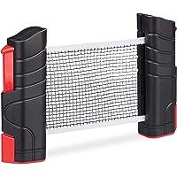 Relaxdays Red Ping Pong Extensible para Mesas con Tablero de hasta 5 cm, Negro y Rojo, hasta 176 cm