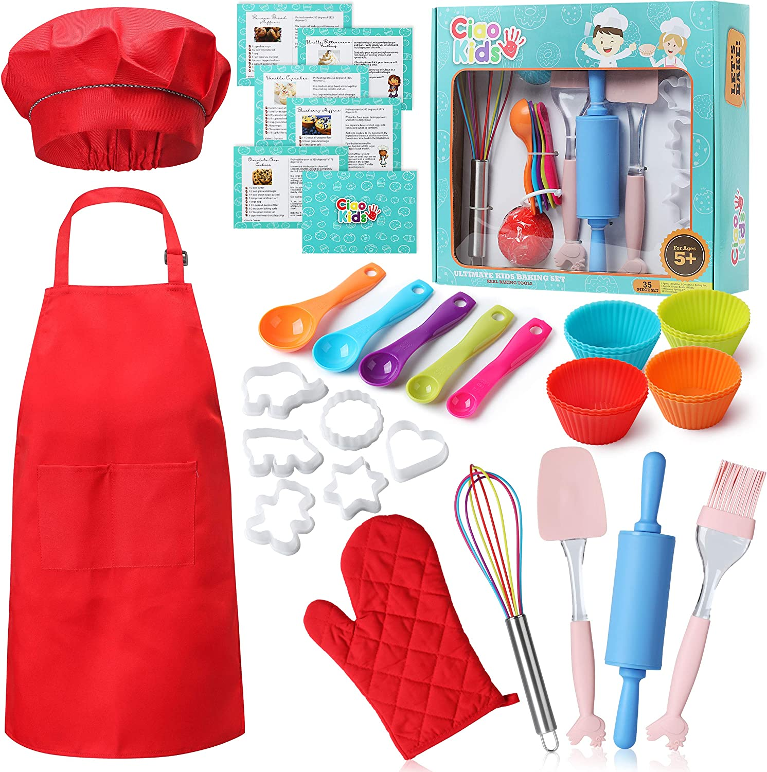 CiaoKids Real Kids Baking Set 35 Pcs includes Kids Apron, Chef Hat, Oven Mitt, Real Baking Tools and Recipes