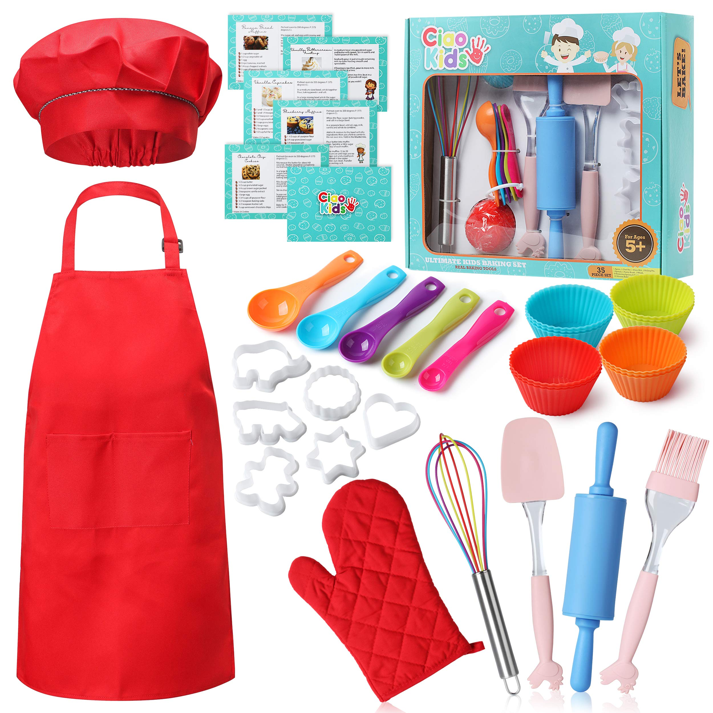 CiaoKids Real Kids Baking Set 35 Pcs includes Kids Apron, Chef Hat, Oven Mitt, Real Baking Tools and Recipes. by CiaoKids