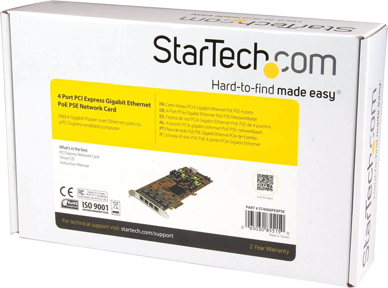 StarTech.com 4 Port Gigabit PoE (Power over Ethernet) Card - PCIe Network Card – PoE / PoE+ Up to 25W Per Port - PCIe NIC – Gigabit Ethernet Card ...