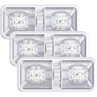3 Pack RV LED Ceiling Double Dome Light Fixture with ON/Off Switch Interior Lighting for Car/RV/Trailer/Camper/Boat DC…