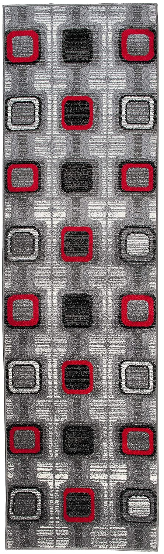 Moderne Läufer Teppich Flur Brücke - Tolle Muster in GRAU - Teppichläufer TWIST Kollektion 100 x 150 cm