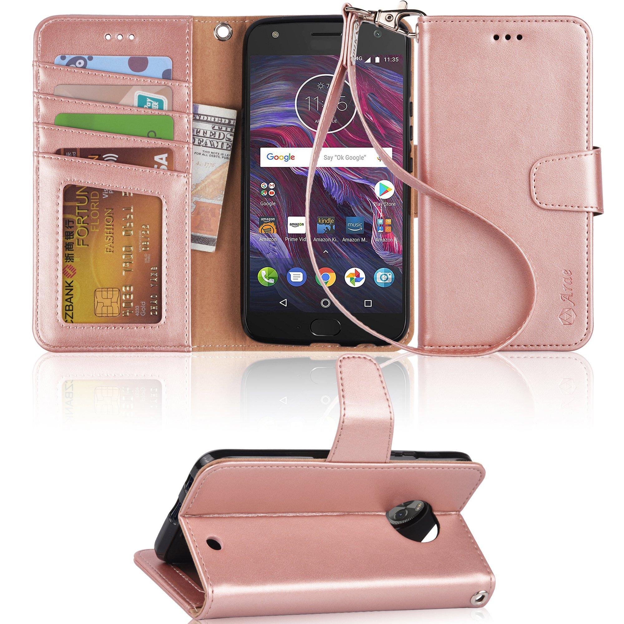 Moto X4 Case, Arae Flip Folio [Kickstand Feature] PU Leather Wallet case [4 Slot] ID&Credit Cards Pocket Moto X4 - Rose Gold
