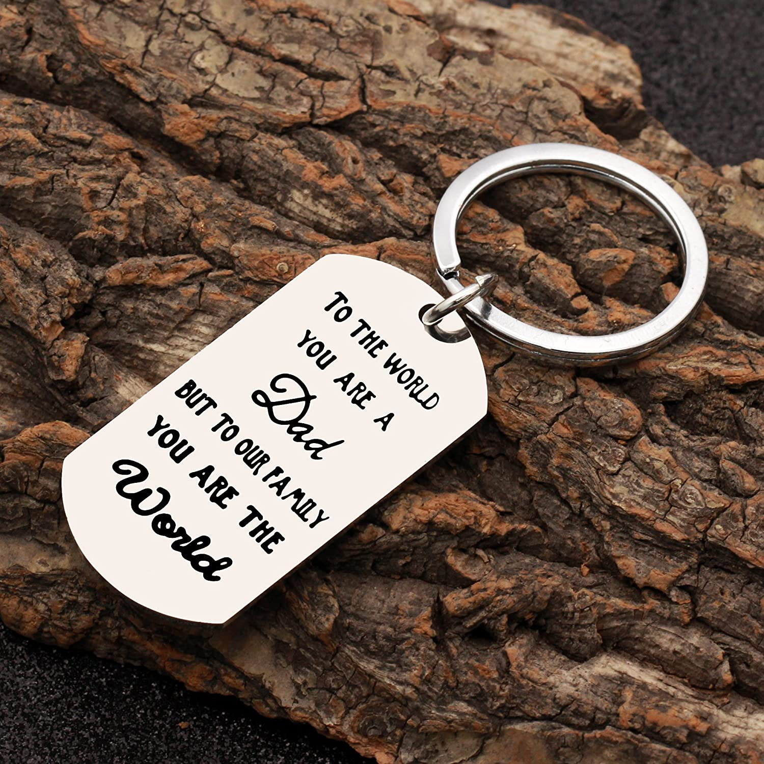 CAROMAY Key Chain Ring To The World You Are A Dad But To Our Family You Are The World Father Day Gift