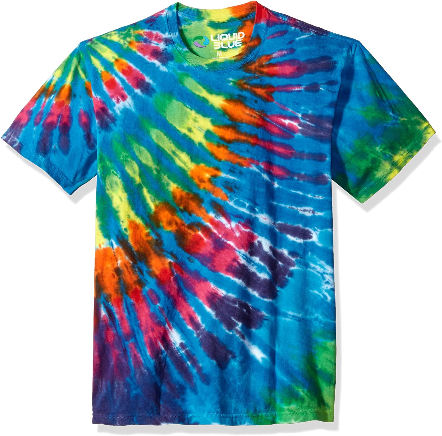 Liquid Blue Rainbow Blue Streak Tie Dye Short Sleeve T-Shirt
