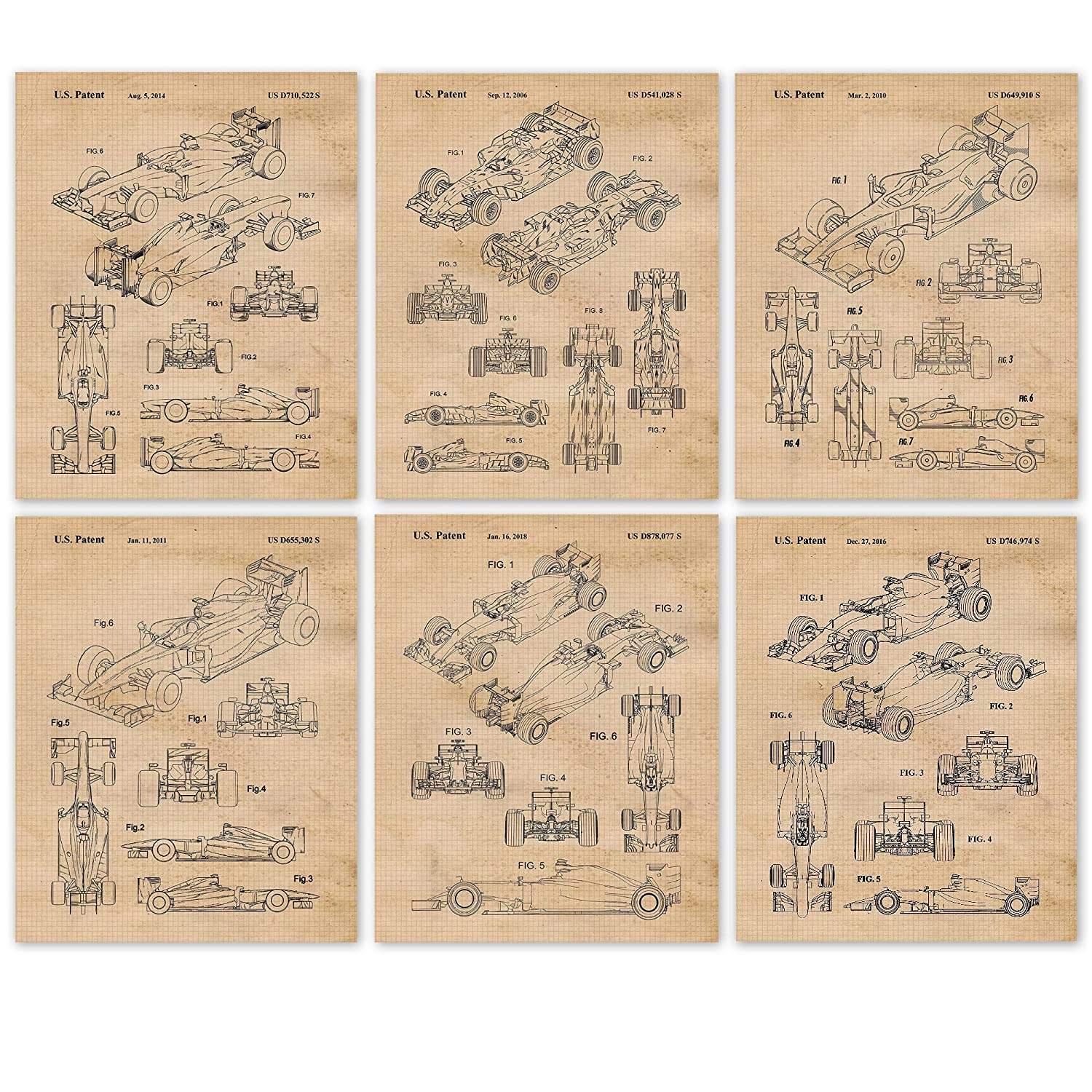 Amazon Com Vintage Ferrari F1 Indy Racing Patent Poster Prints Set Of 6 8x10 Unframed Photos Wall Art Decor Gifts Under 20 For Home Office Studio Garage Shop Man Cave College Student Formula