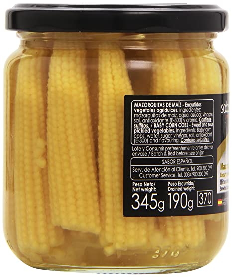 Sabor Español - Mazorquitas de maíz agridulces - Categoría primera - 345 g: Amazon.es: Alimentación y bebidas
