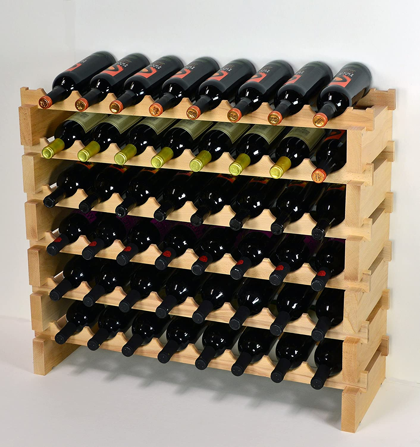 Amazon.com: Wine Rack Wood  48 Bottles Modular Hardwood Wine Racks (8  Bottles X 6 Shelves): Kitchen U0026 Dining