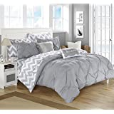 Chic Home 9 Piece Louisville Pinch Pleated and Ruffled Chevron Print Reversible Bed In a Bag Comforter Set Sheets, Full, Grey
