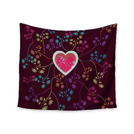 80 by 60 Kess InHouse Famenxt Love Heart Multicolor Heart Fleece Throw Blanket