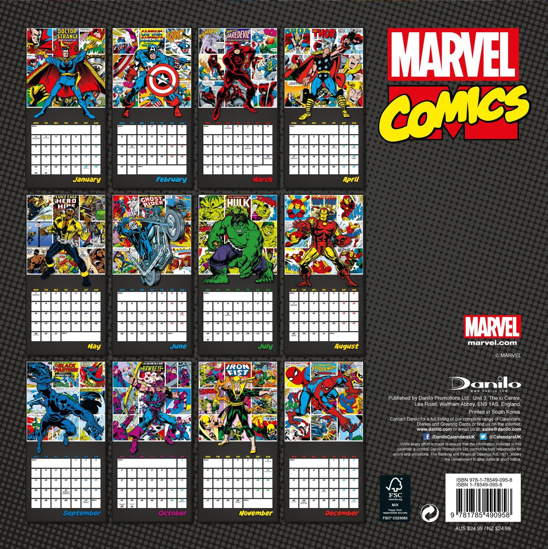 Marvel Comics Classic Official 2017 Calendar   Superhero Square