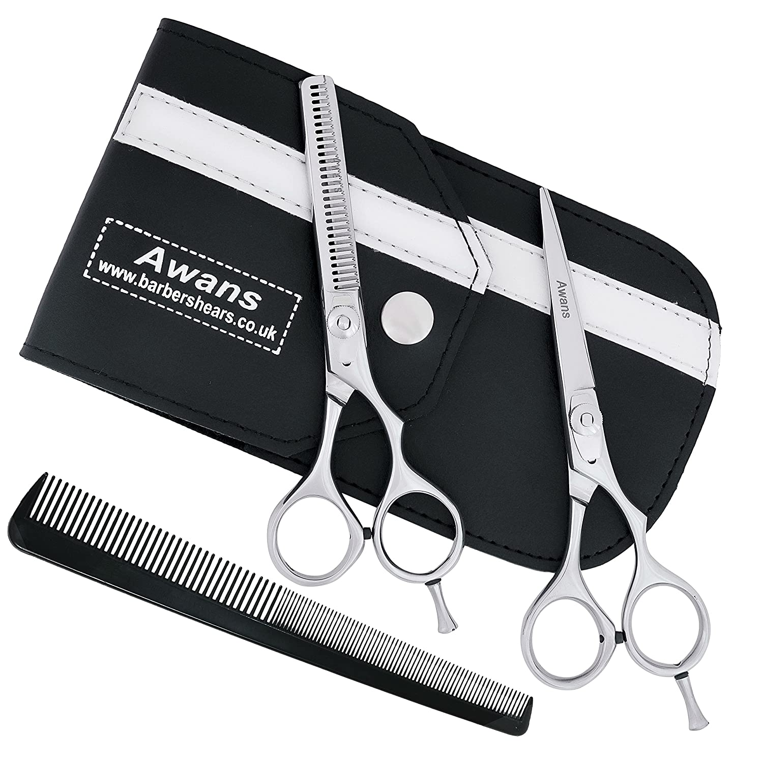 Professional Hairdressing Barber Salon Scissors, Thinning Scissors Set 5.5 Awans 5060349500055