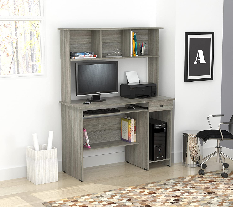 Inval CC-6701 Computer Desk, Smoke Oak