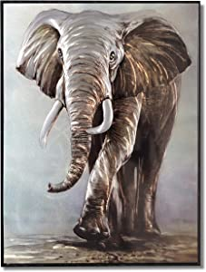 Yihui Arts Elephant Wall Art On Metal Animal Pictures Artwork With Framed For Bathroom Decoration (Elephant, 32x24IN)