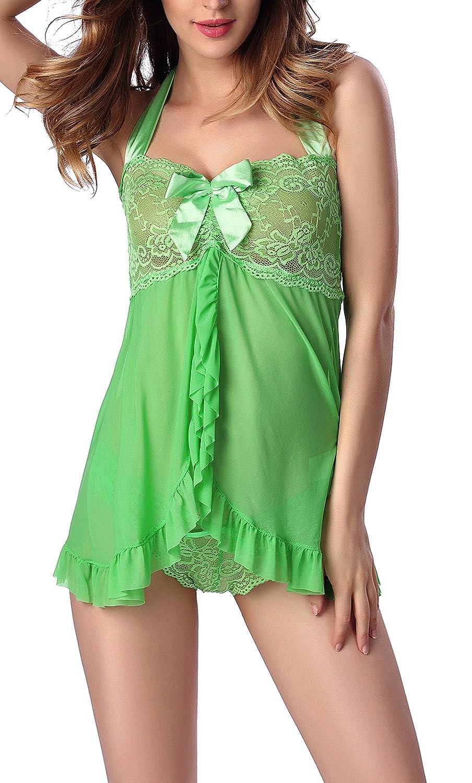 Women's Halter Lace Bowknot Babydoll Lingerie Set Skirt Nightwear Sleepwear American Trends ATACAS1195G0000