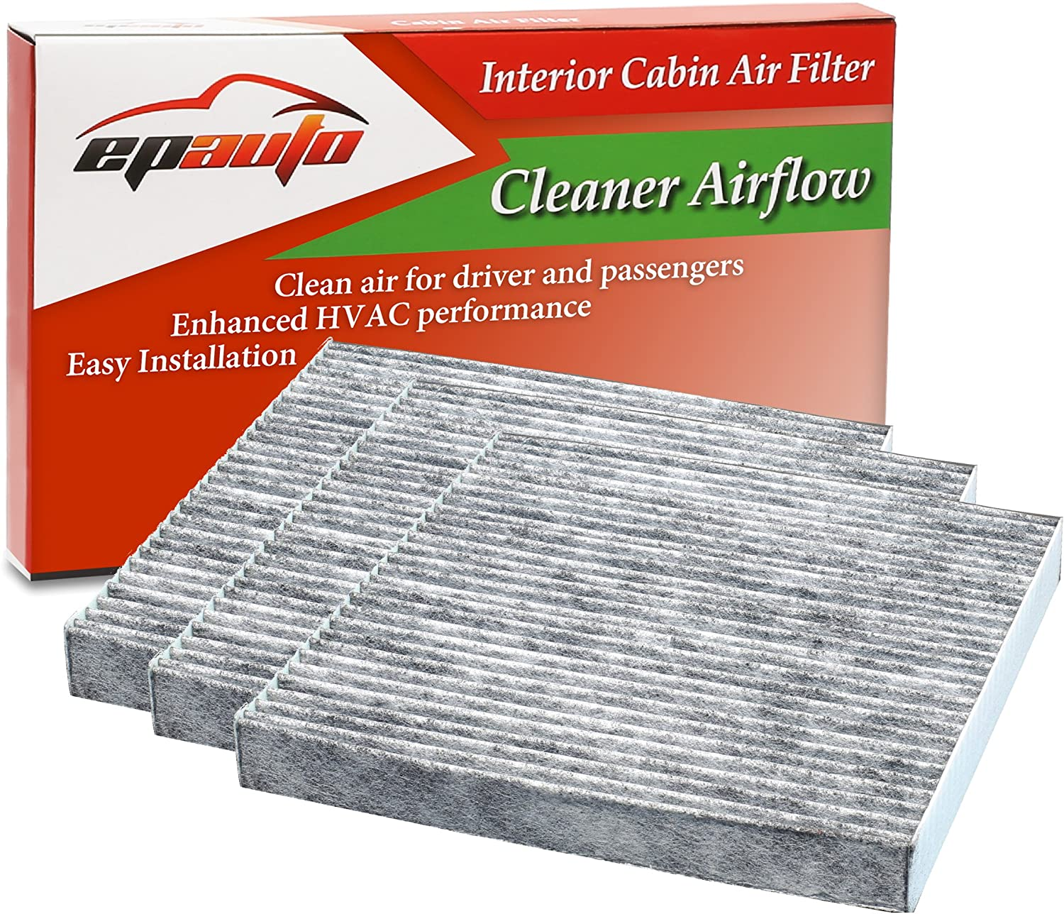 3 Pack Replacement for Honda /& Acura Premium Cabin Air Filter includes Activated Carbon EPAuto CP134 CF10134