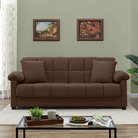 Peachy Handy Living Maurice Pillow Top Arm Convert A Couch In Dark Brown Microfiber Andrewgaddart Wooden Chair Designs For Living Room Andrewgaddartcom