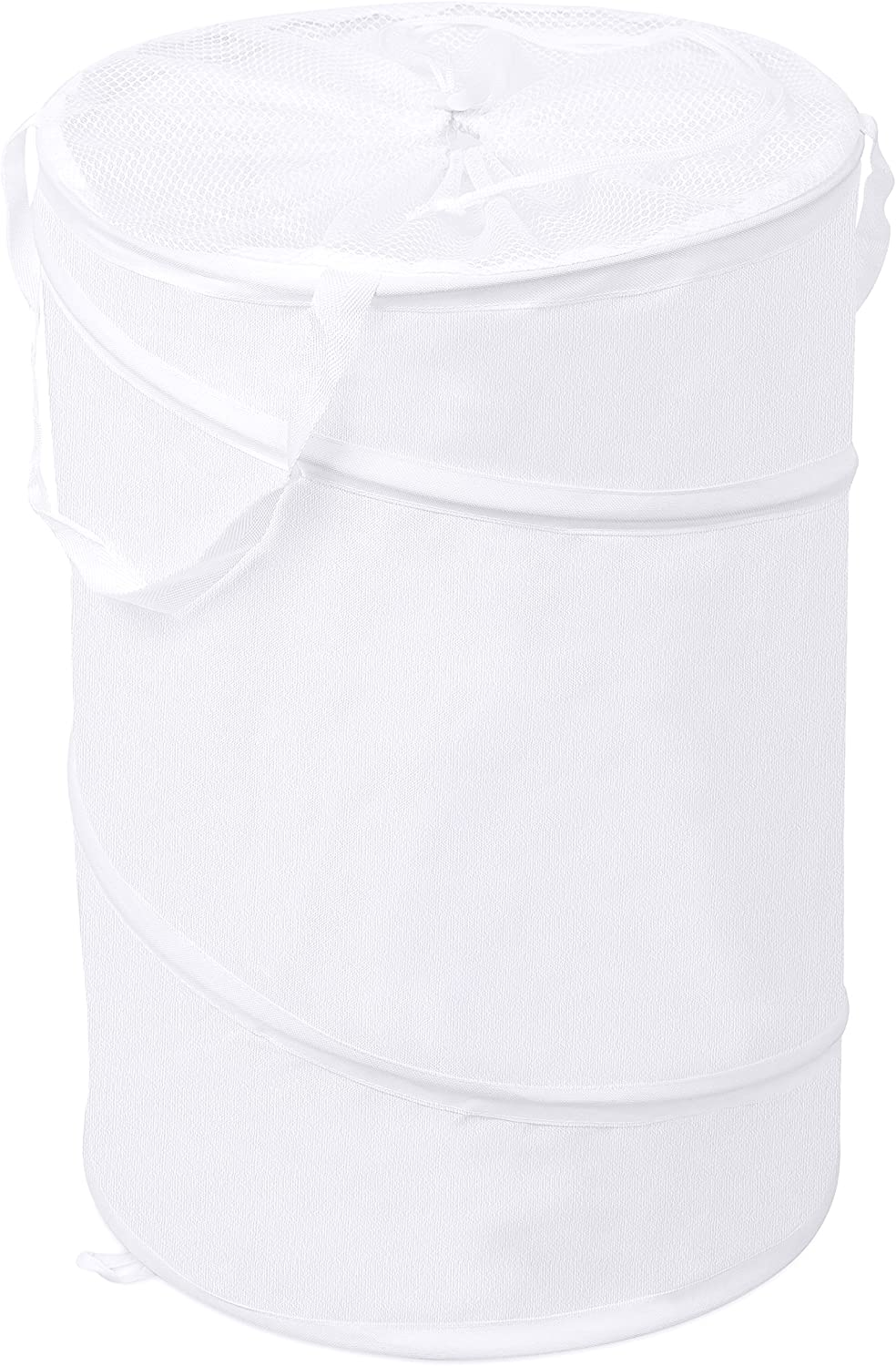 Internet's Best Circle Pop Up Laundry Hamper - Collapsible Laundry Bag with Mesh Drawstring Lid - Carry Handles - Dirty Laundry Sorter Basket - White