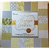 Always & Forever 12x12 Foiled Silver,White, Gold Premium Wedding Cardstock Scrapbooking Paper Pad 60 Sheets