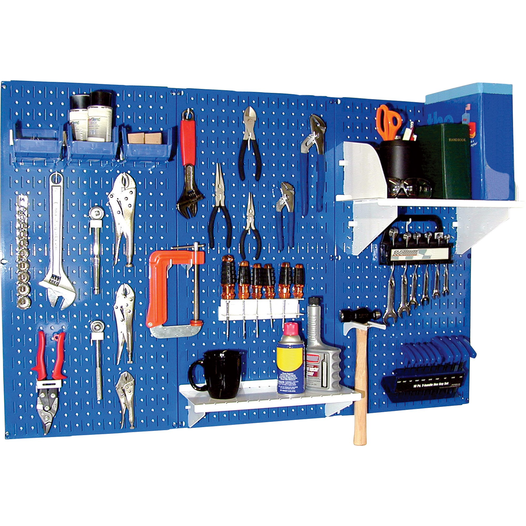 Wall Control Industrial Metal Pegboard - Blue, Three 16in. x 32in. Panels, Model# 35-P-3248BU