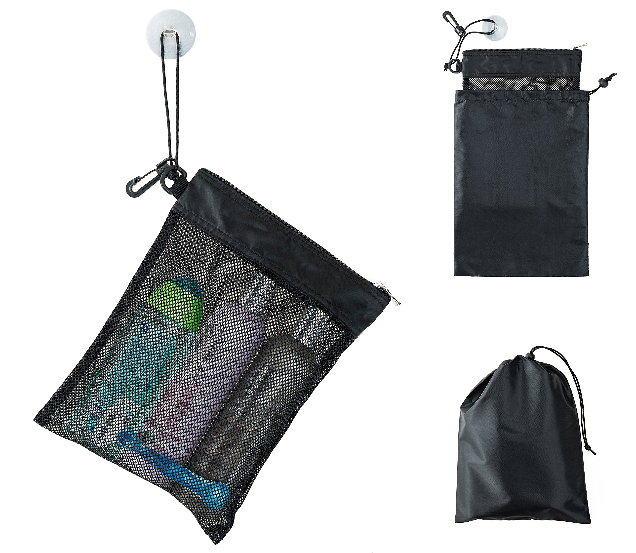 "6394b9625a71 Details about Shower Bag Tote, Mesh Caddy Toiletry Organizer 12""L x 9""W,  Compact and"