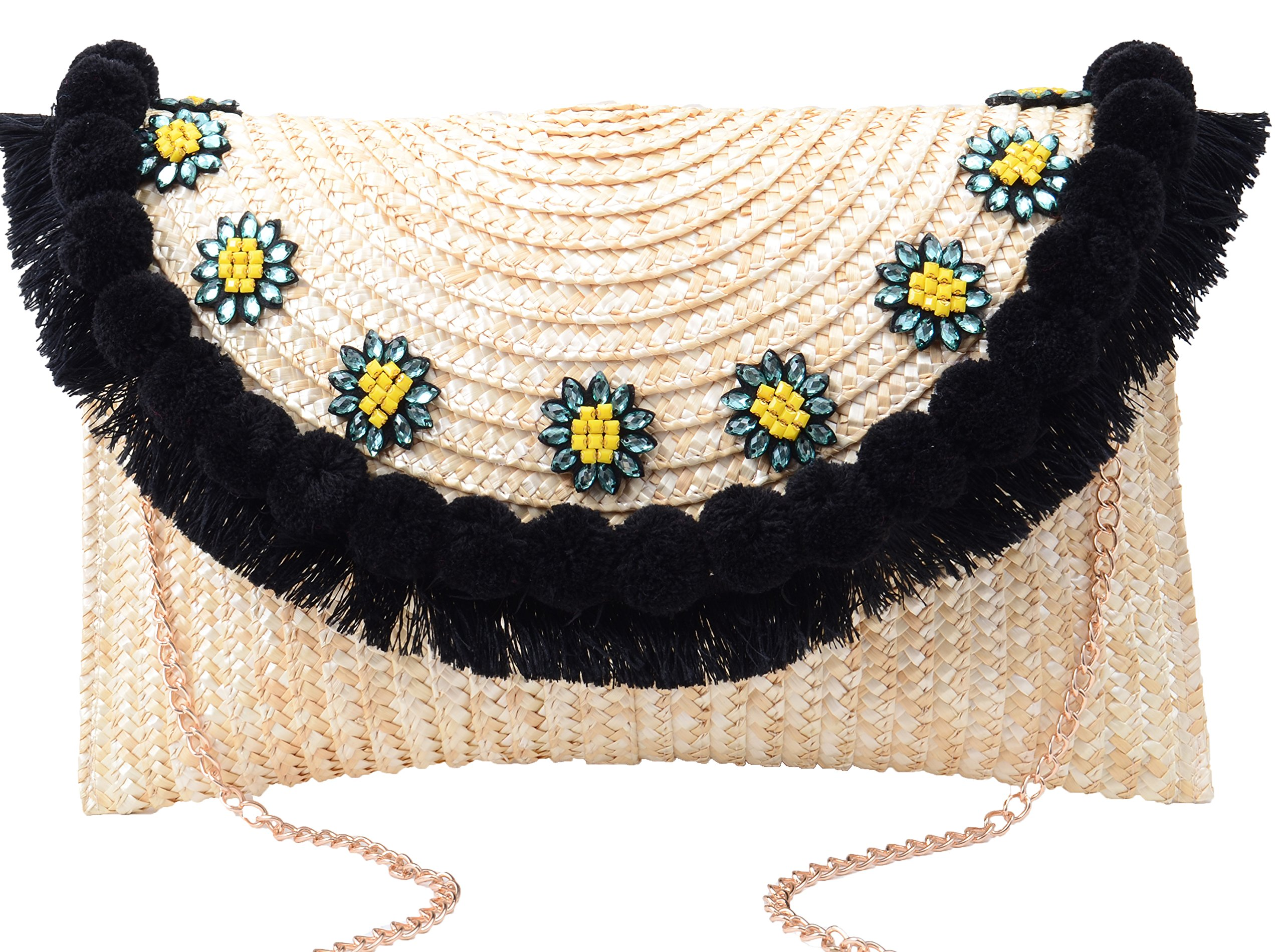 Pulama Straw Crossbody Crochet Shoulder Bag Pom Pom Tassel Pinapple Fringe Fashion Clutch Ivory by Pulama