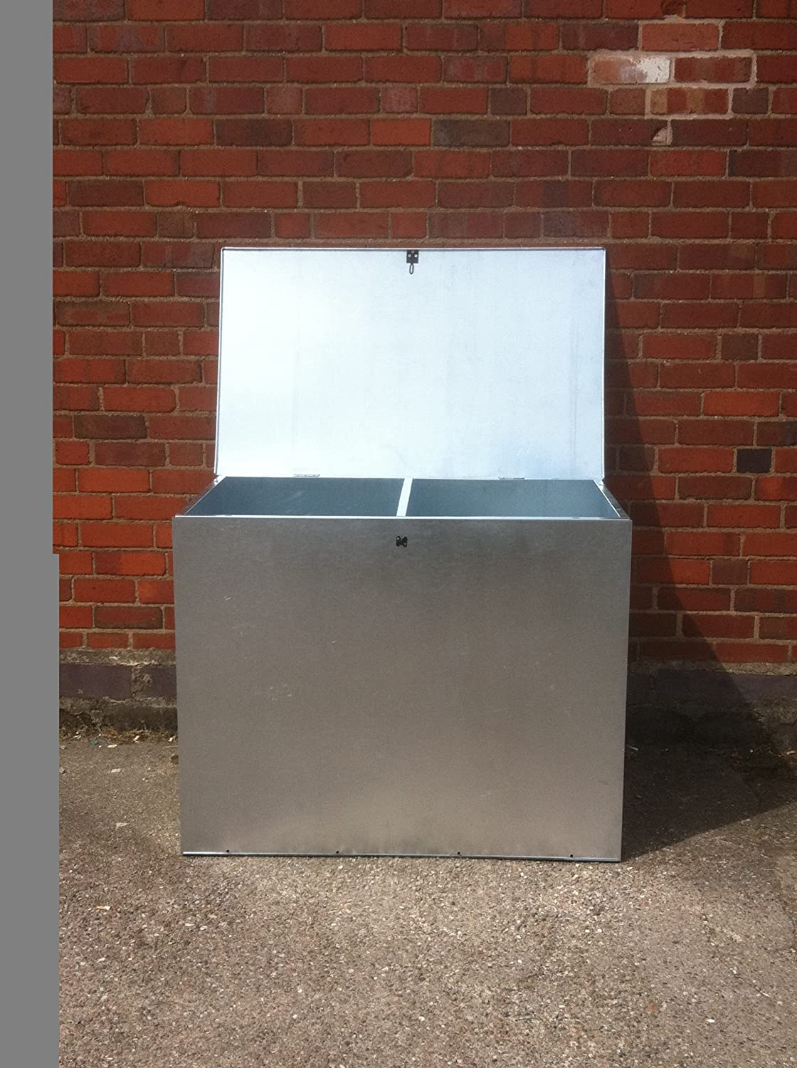 MEDIUM GALVANISED FEED BIN WITH TWO COMPARMENTS ASA METAL PRODUCTS