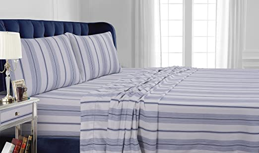 Amazon Com Tribeca Living 200 Gsm Stripe Printed Deep Pocket Flannel Sheet Set Queen Blue Home Kitchen