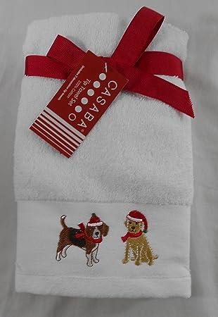 Casaba Navidad blanco bordado perros toallas de punta de los dedos de juego de 2: Amazon.es: Hogar