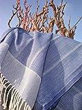 Fouta Playa. Hamamtuch, Saunatuch der Luxusklasse mit eleganten Fischgrat-Gewebe mit einer zeitlos schlichten Farb-Auswahl. Jeansblau mit grau. XXL 100x190 cm