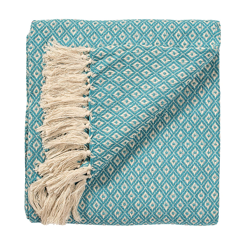 Fair Trade Small Diamond Grey Cotton Woven Sofa Settee Bedspread Blanket Throw