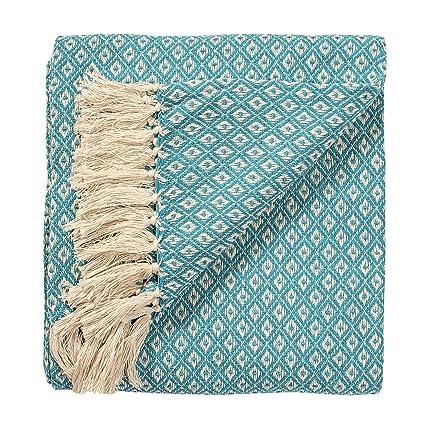 Manta tejida a mano para colcha o sofás color turquesa/azul diamante patrón de tejido 100 % algodón de 130 x 180 cm, comercio justo, TH136TQ