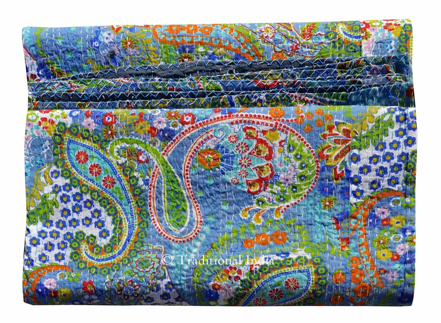 Handicrunch Bird Print King Size Kantha Quilt White, Kantha Blanket, Bed Cover, King Kantha Bedspread, Bohemian Bedding Kantha Size 90 Inch X 108 Inch By Handicrunch Home Decor