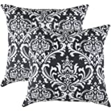 TreeWool, (2 Pack) Throw Pillow Covers Damask Accent in Cotton Canvas (18 x 18 Inches; Black)