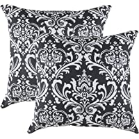 TreeWool 2 Pack Throw Pillow Covers Damask Accent Decorative Pillowcases Toss Pillow Cushion Shams Slips Covers for Sofa Couch (2 Pack;