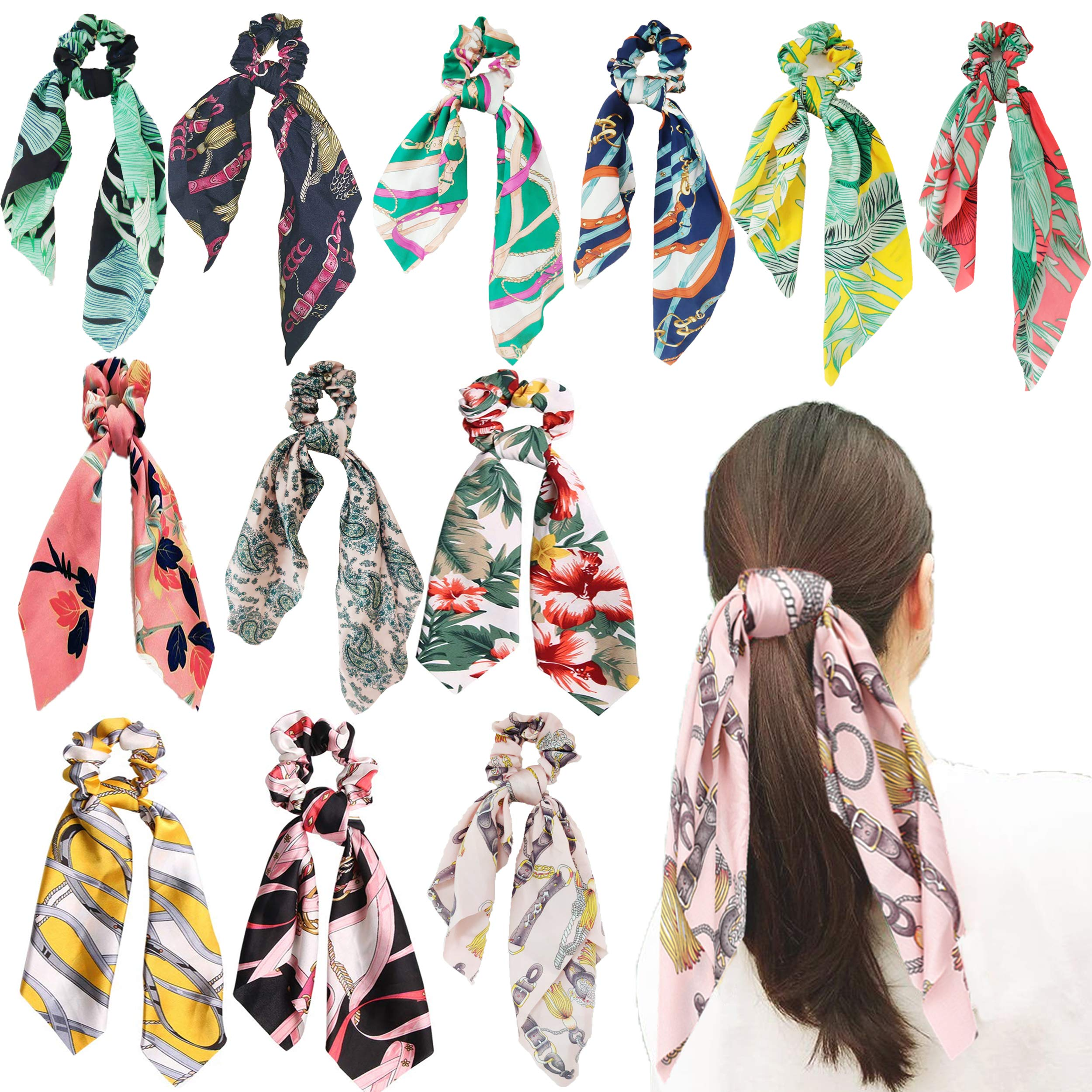 12Pcs Hair Scrunchies Scarf Satin Silk Elastic Hair Bands Hair Scarf Ponytail Holder Scrunchy Ties Vintage Accessories for Women Girls