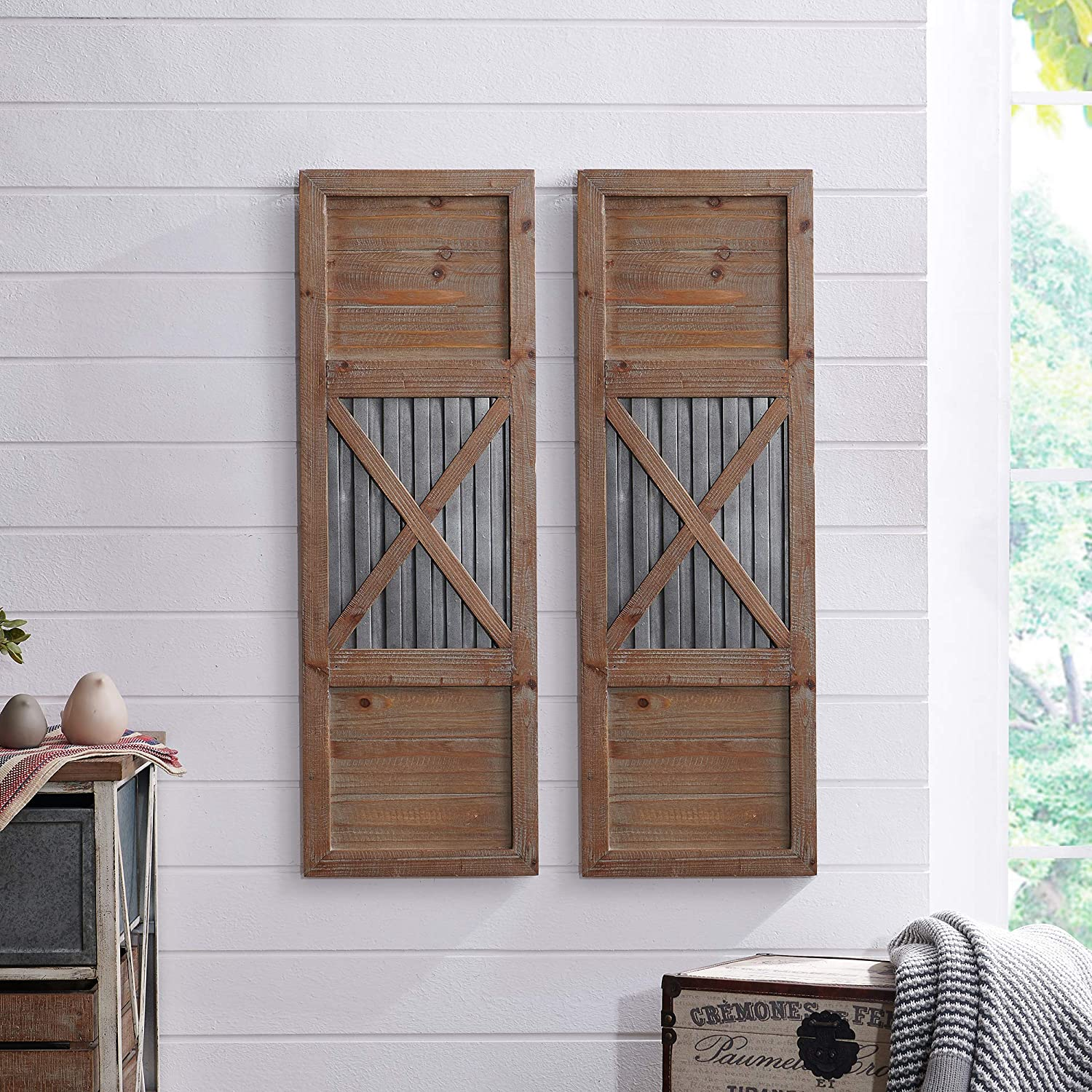 "FirsTime & Co. Raleigh Shutter Wall Plaque Set, 36""H x 12""W, Natural, Antique Silver,70039"