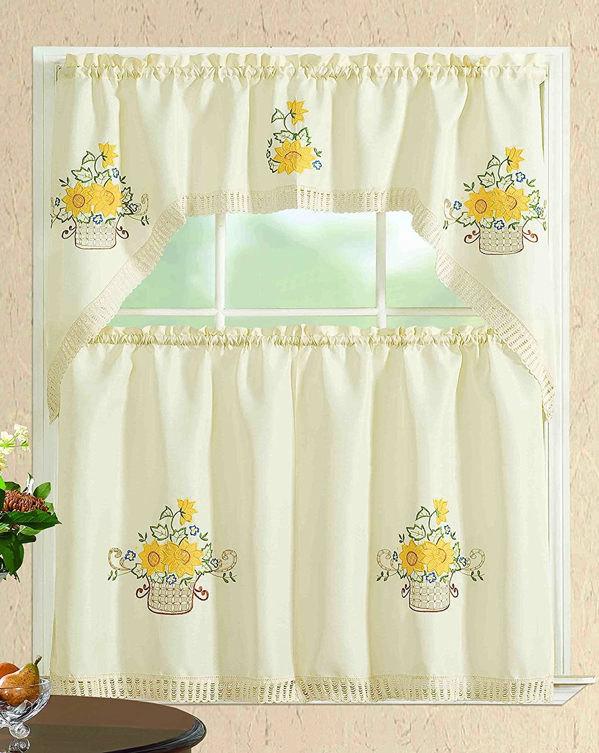 All American Collection Modern Contemporary 3pc Embroidered Home Kitchen Window Treatment Curtain Set (Swag Valance, Sunflower Basket)