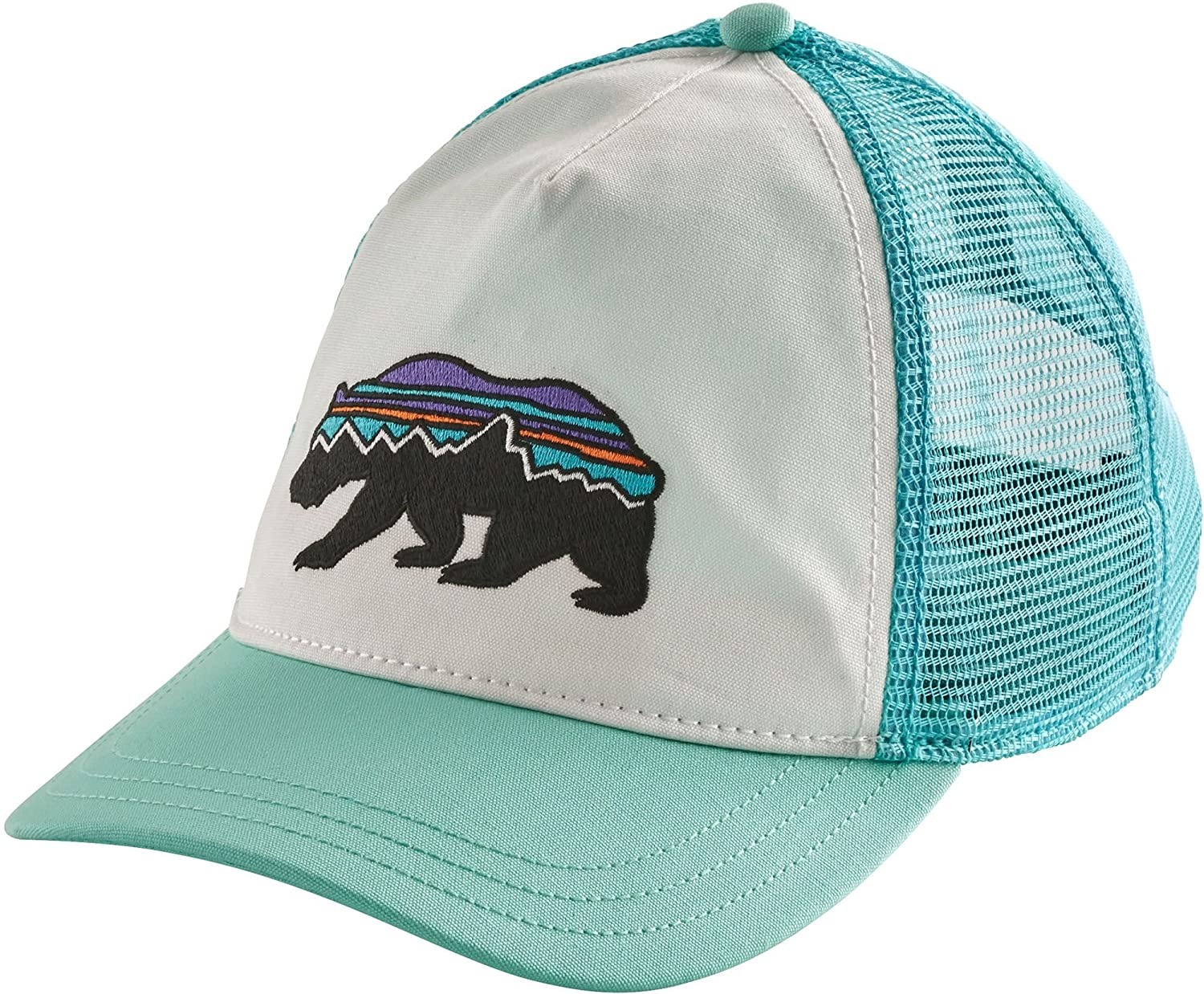 online store 905a7 e5c02 Amazon.com  Patagonia Women s Fitz Roy Bear Trucker Hat (One Size,  White Bend Blue)  Sports   Outdoors