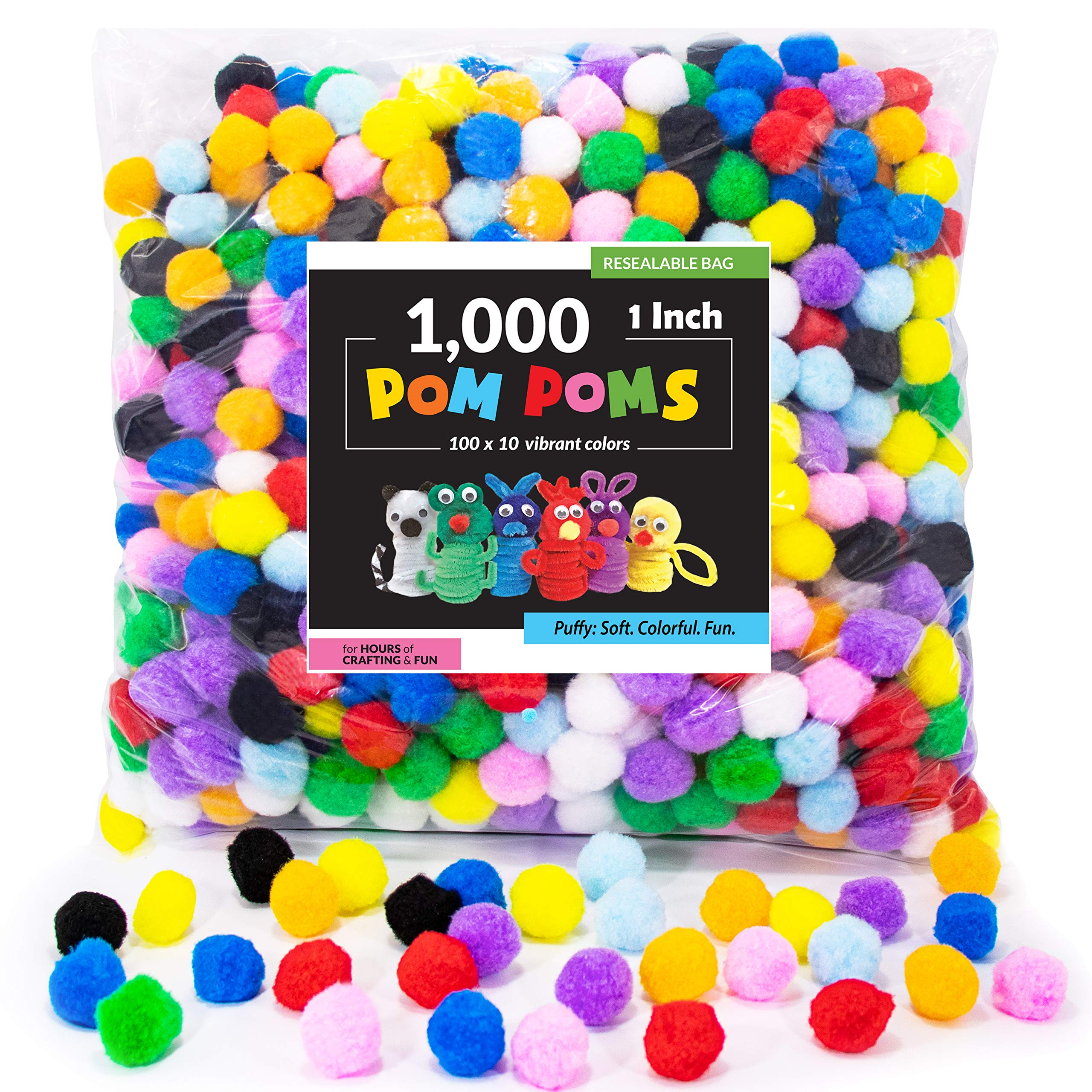1000 Pieces 1 Inch Pom Poms for Crafts 10 Assorted Colors Separated by Bag Pom Poms Best Puff Balls by Upper Midland Products