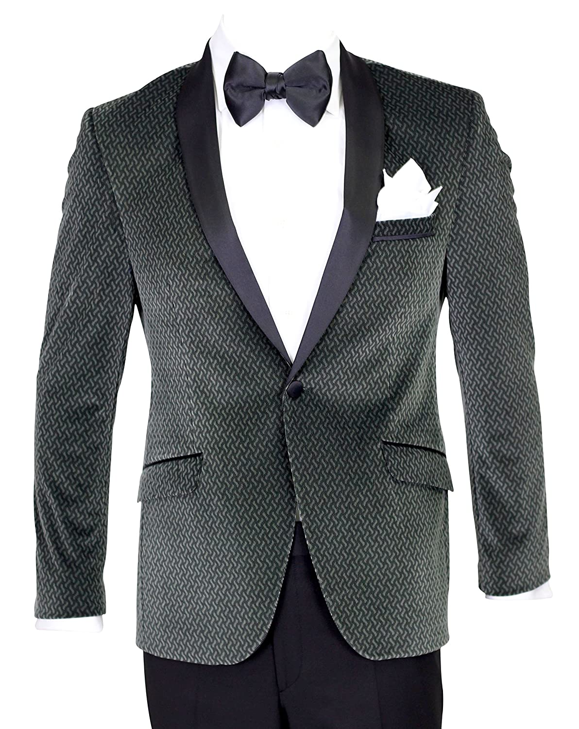 Giangiulio - Seaweed Green Velvet Dinner Jacket/Suit with Satin Lapel