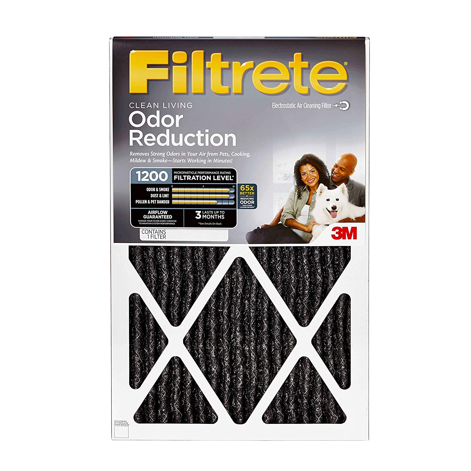 Filtrete 16x25x1, AC Furnace Air Filter, MPR 1200, Allergen Defense Odor Reduction, 4-Pack