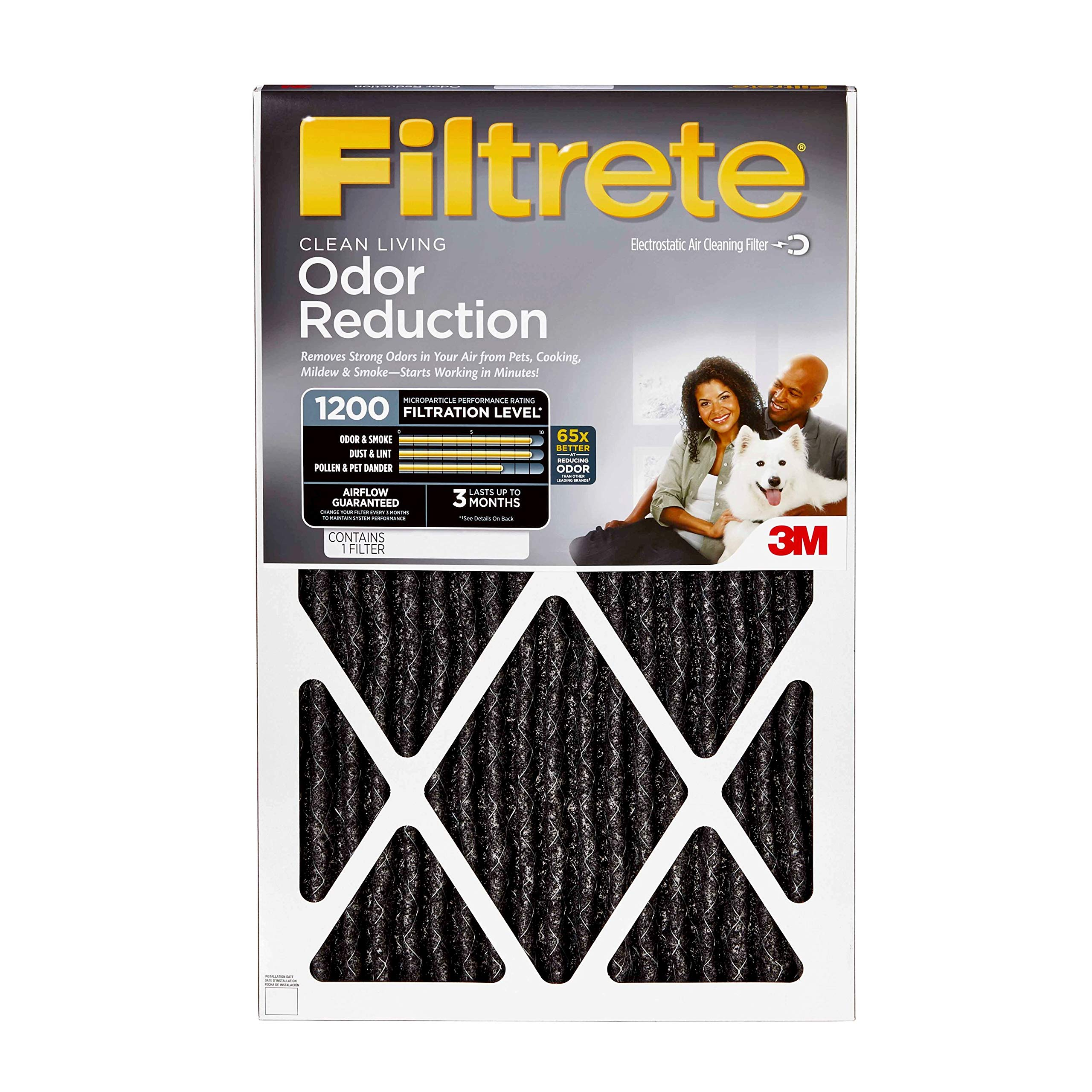 Filtrete 16x25x1, AC Furnace Air Filter, MPR 1200, Allergen Defense Odor Reduction, 4-Pack by Filtrete