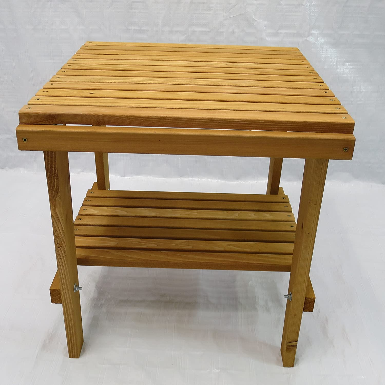 Cedar Side Table with Shelf Stained Finish, Amish Crafted