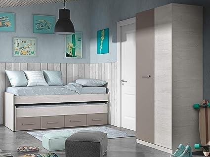 Miroytengo Pack Muebles Dormitorio Juvenil Color Unisex Cama Nido y Armario somieres incluidos