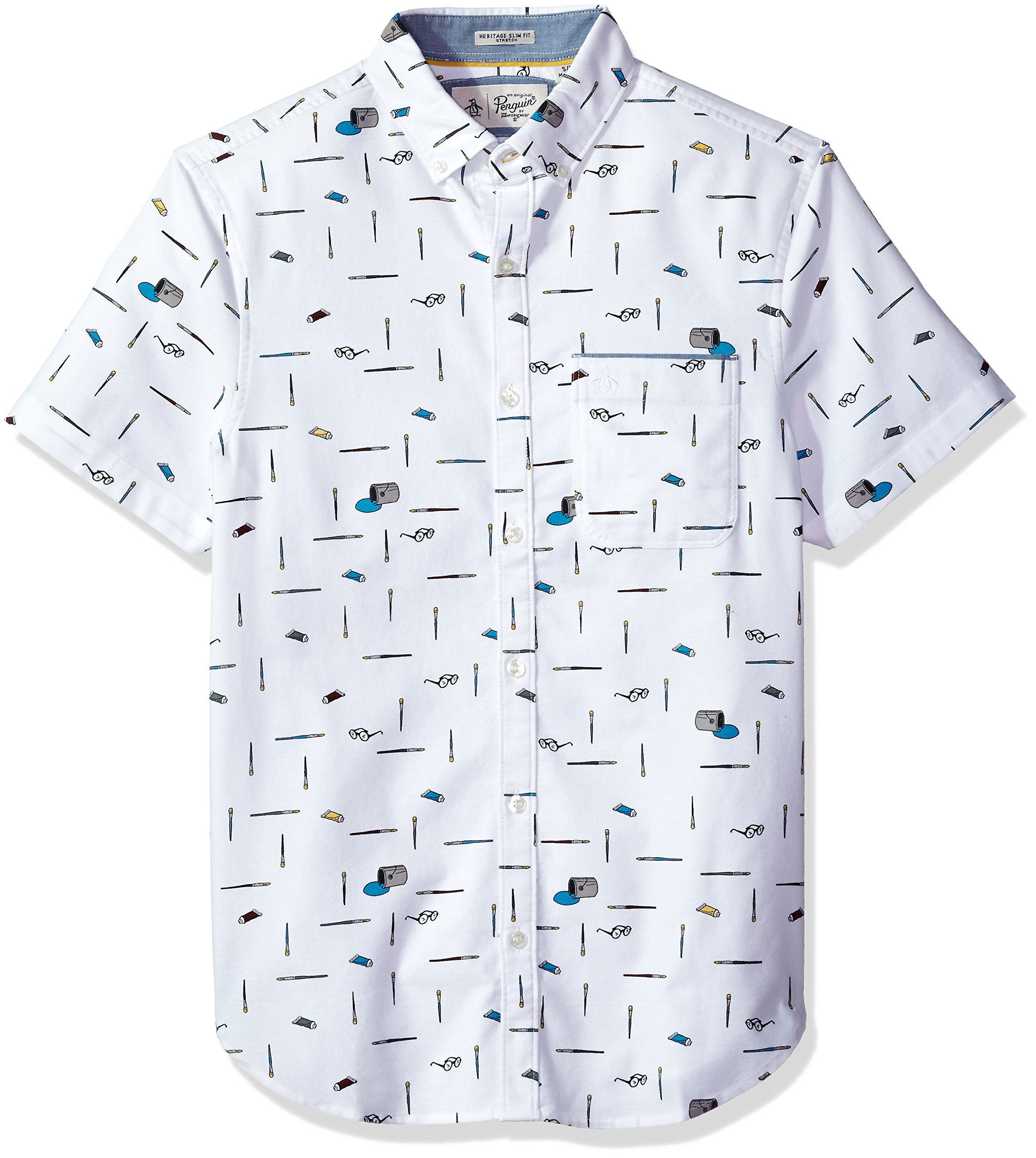 Original Penguin Men's Intermittent Paintbrush Shirt, Bright White, Extra Extra Large by Original Penguin