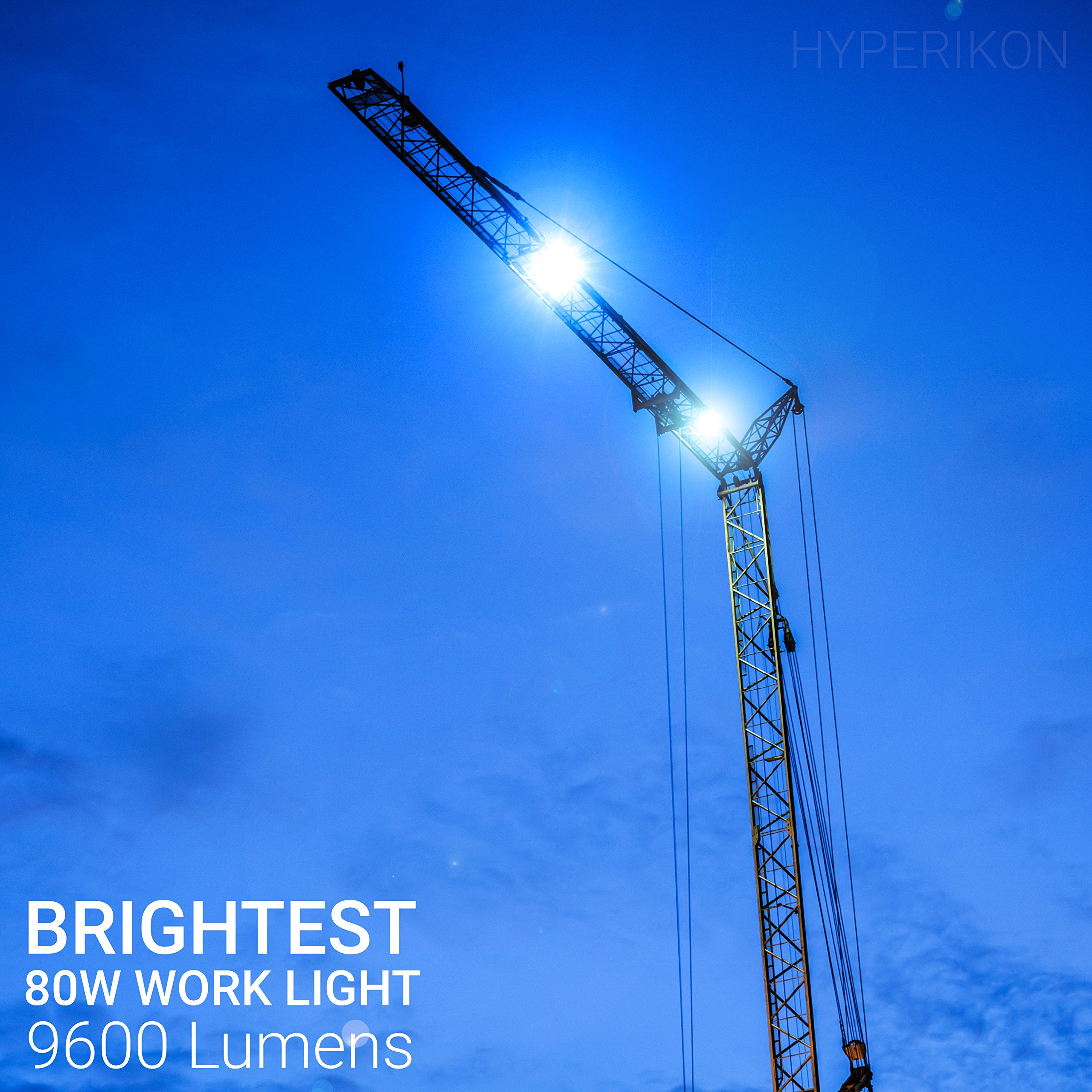 Hyperikon 80W LED Temporary Work Light Fixture, 9600 Lumens, Orange Construction Drop Light, LED High Bay Lighting, UL IP65 Waterproof, 5000K by Hyperikon (Image #3)